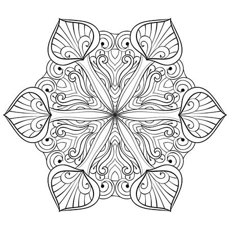Vector Copo De Nieve En Estilo Zentangle, Mandala Para Colorear Para ...