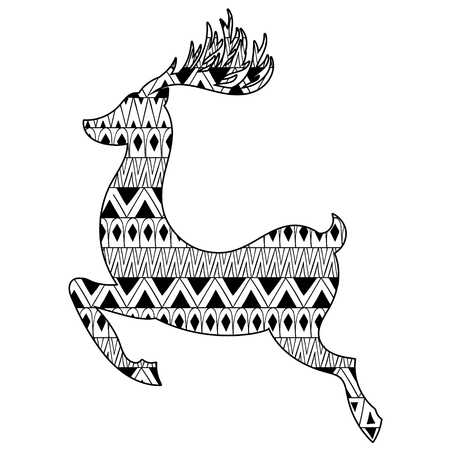 christmas tattoo: Christmas tribal ethnic Reindeer. Boho tattoo design with doodle elements for monochrome t-shirt print.