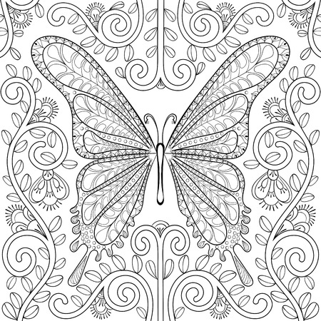 Adult coloring book with butterfly in flowers pages, zentangle vector illustration for art therapy, post card, t-shirt print. Boho tattoo design with doodle elements.