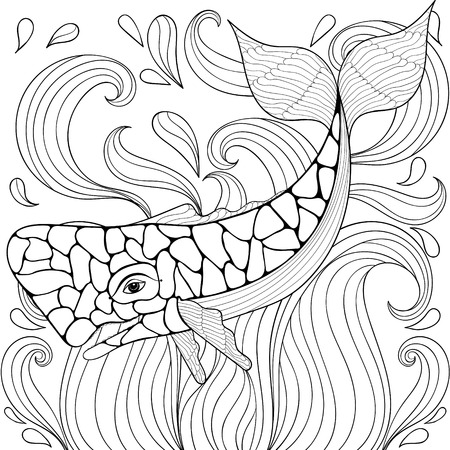 Zentangle Whale in waves. Freehand sketch for adult antistress coloring pages, books. Ornamental artistic vector illustration for tattoo, t-shirt print. Sea animal collection. Ilustrace