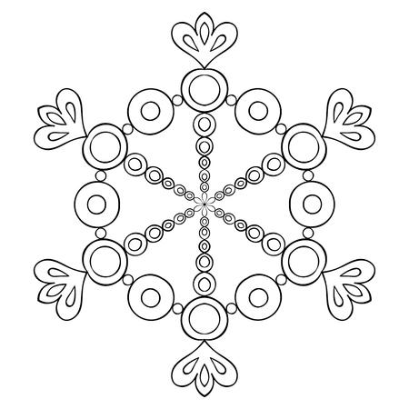 Vector De Copo De Nieve En El Estilo De Dibujo Zentangle, Mandala ...