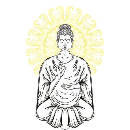 ベクトル ロータス ポーズで座っている仏像。仏教刺青芸術、宗教 t シャツ プリント。ビンテージの手描きイラスト。 精神的なヨガのモチーフ、チ