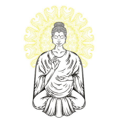nirvana: Vector Sitting Buddha in Lotus pose. Buddhism tattoo art, religion t-shirt print. Vintage hand drawn illustration.  Spiritual, yoga motifs, symbol of Tibet, Asia.