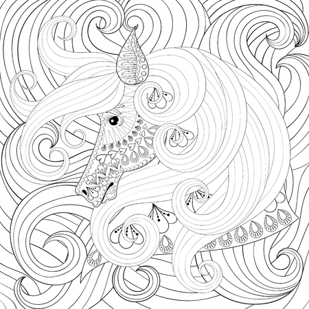 long hairs: Adult coloring book with horse head with long hairs, zentangle vector illustration for art therapy, post card, t-shirt print. Boho tattoo design with doodle elements.