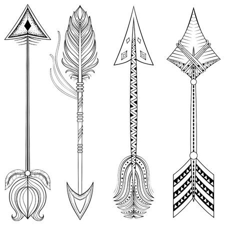 bohemian: Vector ethnic Arrows in zentangle design,concept. Hand drawn American illustration for t-shirt tribal print. Henna black tattoo art.