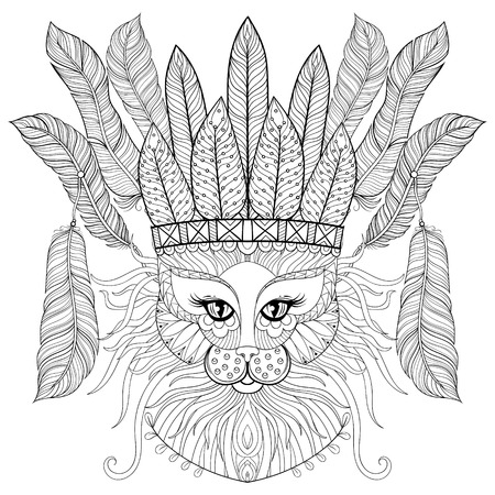 bonnet: Zentangle Cat with indian war bonnet, bird feathers for adult antistress coloring pages, books, art therapy. Ornament artistic vector illustration for tattoo, t-shirt print.