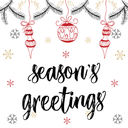 season's greeting: Christmas modern calligraphy. Hand drawn brush lettering in pastel color palette, snow flakes with balls, mistletoe. Greeting card template, banner with seasons greetings.