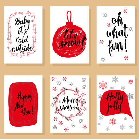 winter colors: Christmas holidays modern calligraphy set. Hand drawn brush lettering in red, black colors, floral winter wreath, snow flakes, speech bubble. Greeting card templates, banners. Illustration