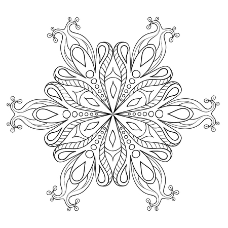 Zentangle elegant snow flake. Vector ornamental winter illustration for decoration, Christmas greeting cards, invitation template, adult coloring pages. Ilustrace