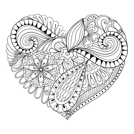 Artistic floral doodle heart in zentangle style for adult coloring page. Hand drawn vector monochrome illustration. Valentines Day greeting card template, background. Symbol of love.