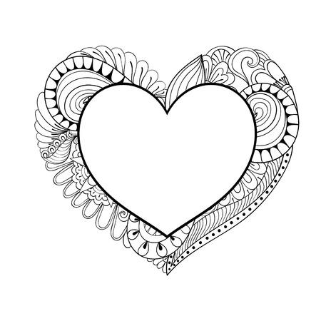 Künstlerische Blumen Doodle Herz In Zentangle Art Für Erwachsene ...