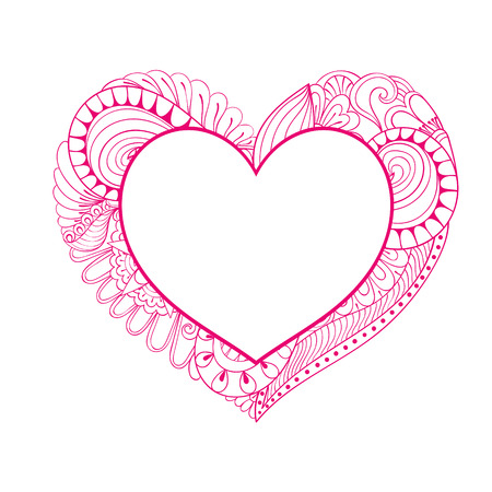 Floral Doodle Heart Frame In Zentangle Style With Calligraphy ...