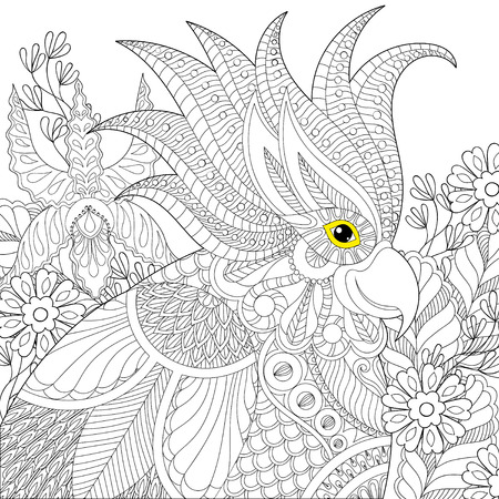 Exotic Zentangle Cockatoo Parrot For Adult Anti Stress Coloring Pages Book Bird Head In