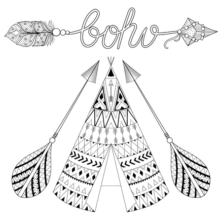 Hand drawn American native wigwam with ethnic ornamental elements, arrows with feathers and boho lettering. Teepee bohemian designs. Monochrome yurt, indian home vector illustration. Illustration