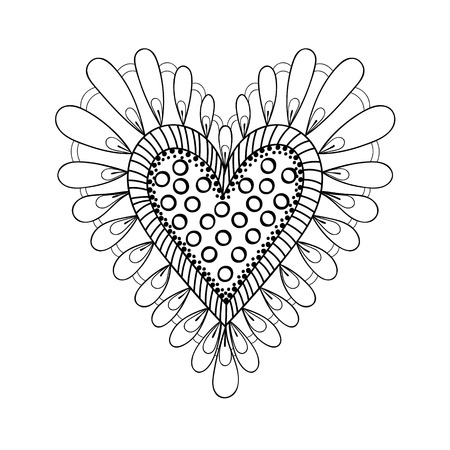 Floral Doodles Heart In Zentangle Ornamental Style Vector Frame Made Of Flowers Patterned Background