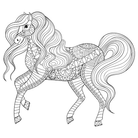 Adult anti stress coloring page with horse. Hand drawn zentangle animal for colouring book, art therapy, greeting card, decoration element. Freehand sketch in boho style.