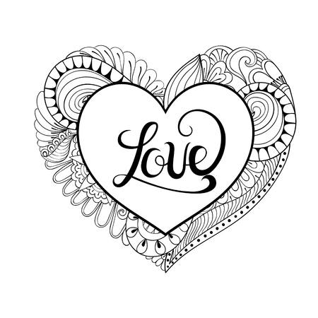 Floral doodle heart frame in zentangle style with calligraphy Love lettering. Hand drawn vector monochrome illustration. Valentines Day greeting card template, background. Symbol of lovely couple.