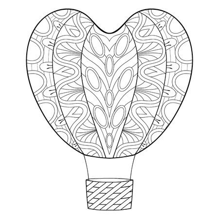 Bergeben Sie Gezogenen Zentangle Rosa Ballon In Der Herzform Für St ...