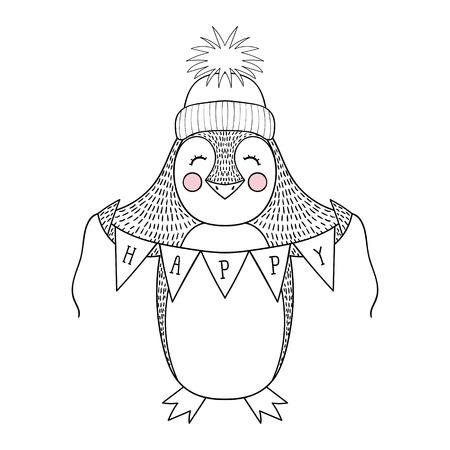 Dessin animé drôle de pingouin dessiné à la main avec une bannière heureuse. Illustration animale mignonne d'enfants pour le livre, impression de t-shirt, carte de voeux, invitations d'anniversaire, brochures, pages à colorier.