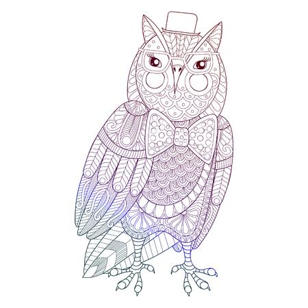 Zentangle Hand Gezeichnet Künstlerisch Kolibri, Fliegende Vogel ...