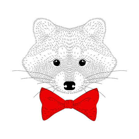 Vector cute cheerful fashion raccoon portrait. Hand drawn hipster anthropomorphic animal head with red bow tie, illustration for t-shirt print, kids greeting card, invitation for party. Illustration