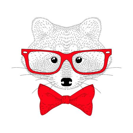 Vector lindo alegre moda mapache retrato. Dibujado a mano cabeza de animal antropomórfico inconformista con pajarita roja, gafas. Ilustración para la impresión de la camiseta, tarjeta de felicitación de los niños, invitación para la fiesta.