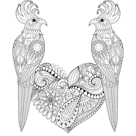 lovebirds: Exotic tropical zentangle bird lovely couple for adult anti stress coloring page, cockatoo parrots sitting on heart for art therapy, greeting card. Hand drawn patterned illustration for St Valentine day.