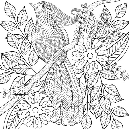 Adult anti stress coloring page, hand drawn zentangle exotic tropical bird sitting on blooming tree branch with cute flowers for book, art therapy, greeting card, decoration element.