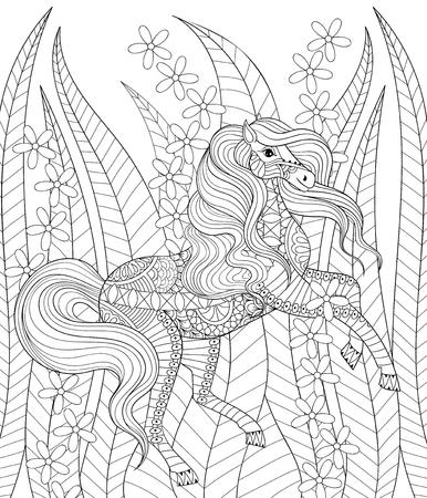 Dibujado a mano del caballo del zentangle de hierba y flores para la página de adulto anti-estrés para colorear, terapia de arte, tarjeta de felicitación, decoración elemento. Modelado ejemplo animal blanco y negro.