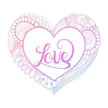 Pintura Del Corazón De Zentangle Para La Página Del Colorante Anti ...