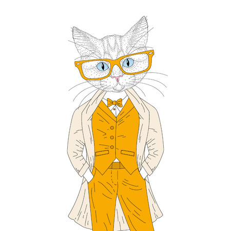 Vector cute anthropomorphic cat boy in elegant suit with coat, glasses. Hand drawn cheerful fashion animal cartoon, hipster illustration for t-shirt print, kids greeting card, invitation for party.