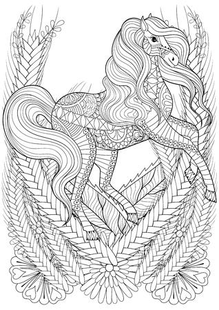 carreras de caballos en la página para colorear contra el estrés flores adulto. Dibujado a mano animales zentangle para colorear, de libro, terapia de arte, tarjeta de felicitación, camiseta de la impresión, estampado elementos de decoración étnicos. tamaño A4. Ilustración de vector
