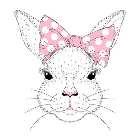 Vector Cute Bunny Portrait Hand Drawn Fashion Rabbit Girl Face With Pink Pin Up Bow