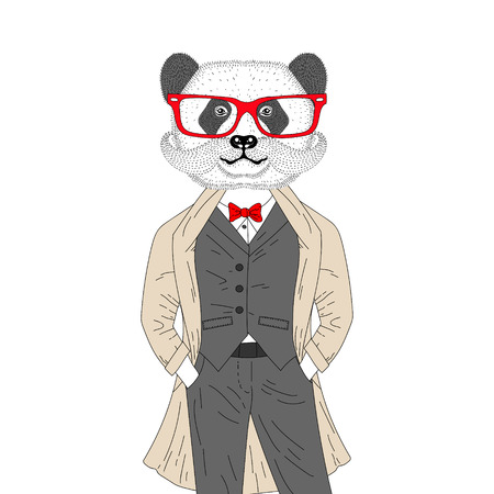 Vector brutal panda in elegant classic suit with coat. Hand drawn anthropomorphic bear with mustache, glasses, illustration for t-shirt print, kids greeting card, invitation for gentleman party.