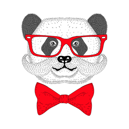 anthropomorphism: Cute panda portrait with french mustache, bow tie, glasses. Hand drawn bear face, anthropomorphic fashion animal  illustration for t-shirt print, kids greeting card, invitation for gentleman party. Illustration