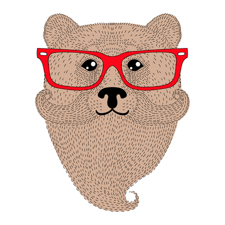 black hat: Cute brown bear portrait with french mustache, beard, glasses. Hand drawn wild anthropomorphic grizzly face, vector illustration for t-shirt print, kids greeting card, invitation for gentleman party. Illustration