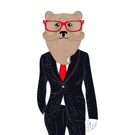 brutal: Vector brutal brown bear in elegant classic suit. Hand drawn anthropomorphic grizzly with mustache, beard, glasses. Illustration for t-shirt print, kids greeting card, invitation for pets, gentleman party.