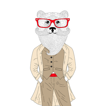 brutal: Vector brutal bear in elegant classic suit with coat. Hand drawn anthropomorphic animal with mustache, beard, glasses, illustration for t-shirt print, greeting card, invitation for gentleman party.