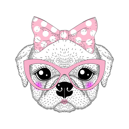 animal eyes: Cute pug portrait with pin up bow tie , kat eyes glasses. Hand drawn dog face, anthropomorphic fashion animal cartoon illustration for t-shirt print, kids greeting card, intitation for pets party.