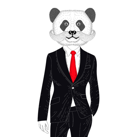 Vector brutal panda in elegant classic suit. Hand drawn anthropomorphic bear  with mustache, illustration for t-shirt print, kids greeting card, invitation for pets, animal, gentleman party. Illustration