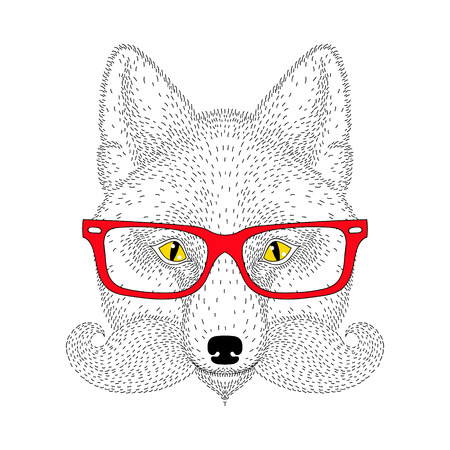 Cute fox portrait with french mustache, beard, glasses. Hand drawn wild anthropomorphic animal face, vector illustration for t-shirt print, kids greeting card, invitation for gentleman party.