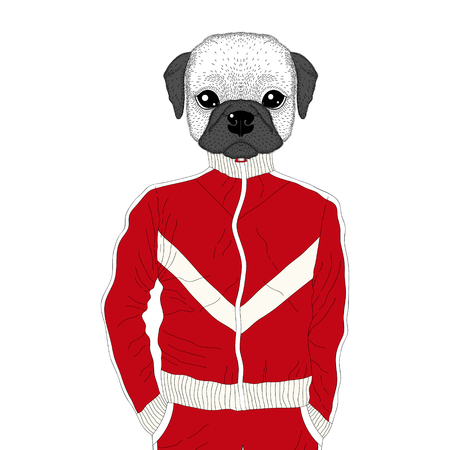 brutal: Vector brutal french bulldog in sport suit. Hand drawn anthropomorphic dog, illustration for t-shirt print, kids greeting card, invitation for 90s party. Illustration