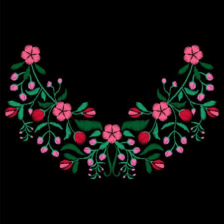 生地、繊維花柄の花ネックレス色刺繍。女の子のファッション ・ デザインの装飾を着用します。伝統の装飾的なパターン。ベクトルの図。  イラスト・ベクター素材