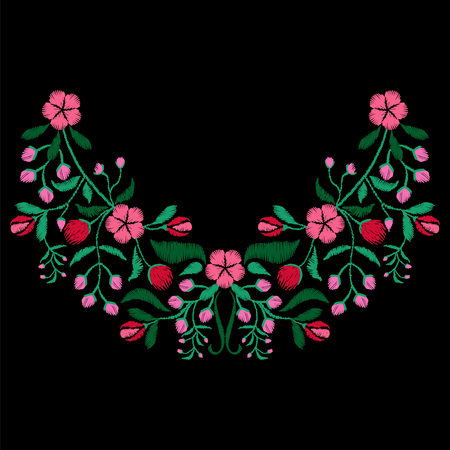 패브릭 꽃 목걸이, 섬유 꽃 무늬와 색상의 자수. 소녀 마모 장식 패션 디자인. 전통 장식 패턴. 벡터 일러스트 레이 션.