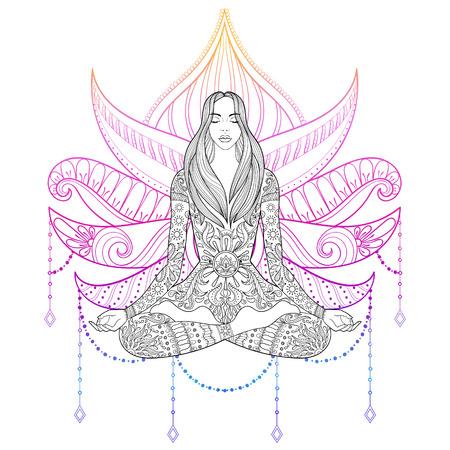 Aufwändige Mädchen Silhouette für Erwachsene Malvorlagen, Meditation, Yoga, Zigeuner Seele, Hand gezeichnet ethnischen Motiv. Standard-Bild - 71887509