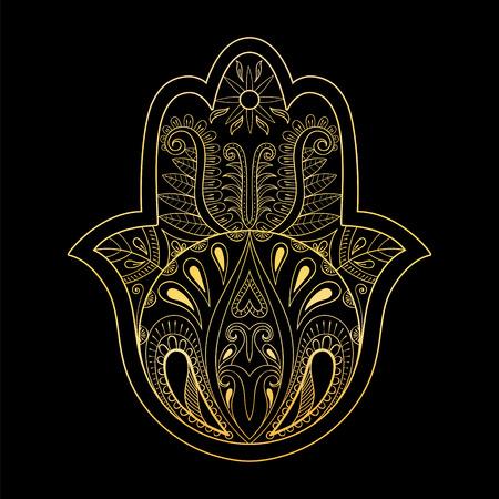 talismán: ilustración vectorial mano de Hamsa de oro. Dibujado a mano símbolo de la oración para dar color anti estrés adulto, la página en el estilo del zentangle. Diseño de tatuaje.