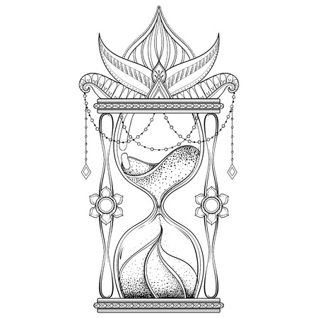 Hand drawn antique wizard hourglass illustration.