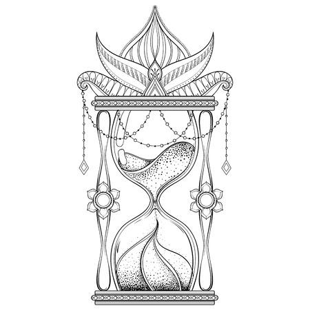 Hand drawn antique wizard hourglass illustration.