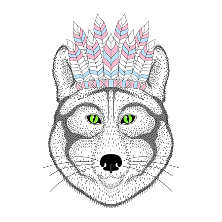 bonnet: Cute wolf portrait with war bonnet on head. Hand drawn animal face, fashion animal cartoon in aztec style, illustration for t-shirt print, kids greeting card, invitation, tattoo design.