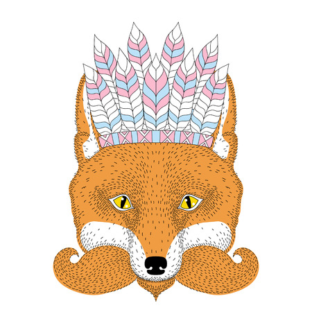 Cute boho red fox portrait, face with war bonnet french mustache. Hand drawn anthropomorphic fashion animal illustration for t-shirt print, kids greeting card, invitation, tattoo design.